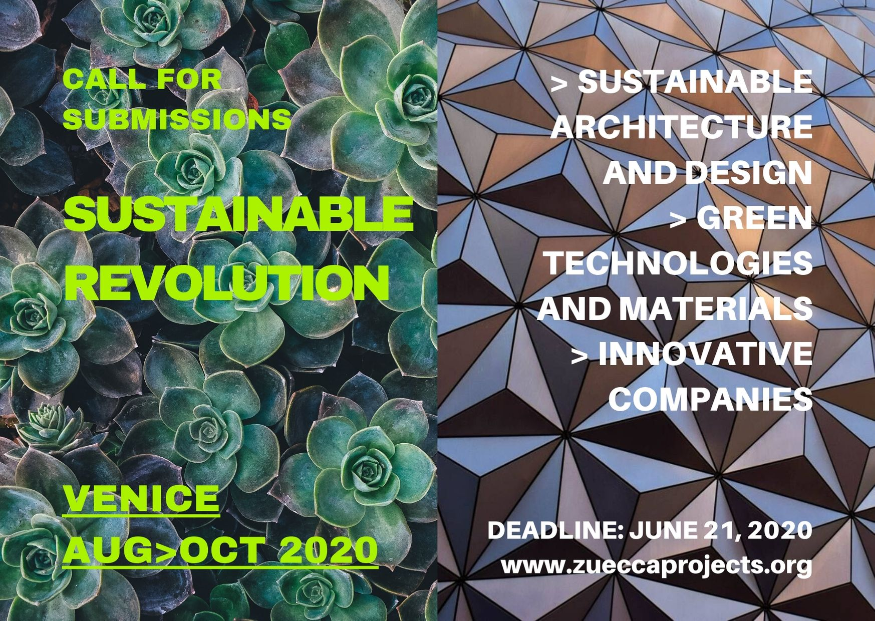 CALL FOR SUBMISSIONS: Sustainable Revolution – Zuecca Projects